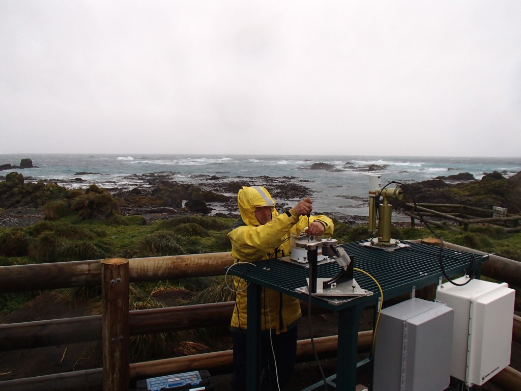 ARM technician Carlos Sousa installs sensors during the Macquarie Island Cloud and Radiation Experiment (MICRE)