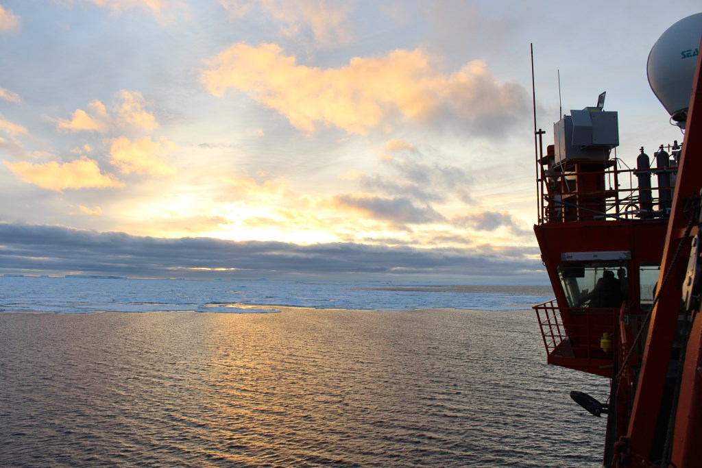 Aurora Australis supply vessel crosses the Southern Ocean during the MARCUS field campaign