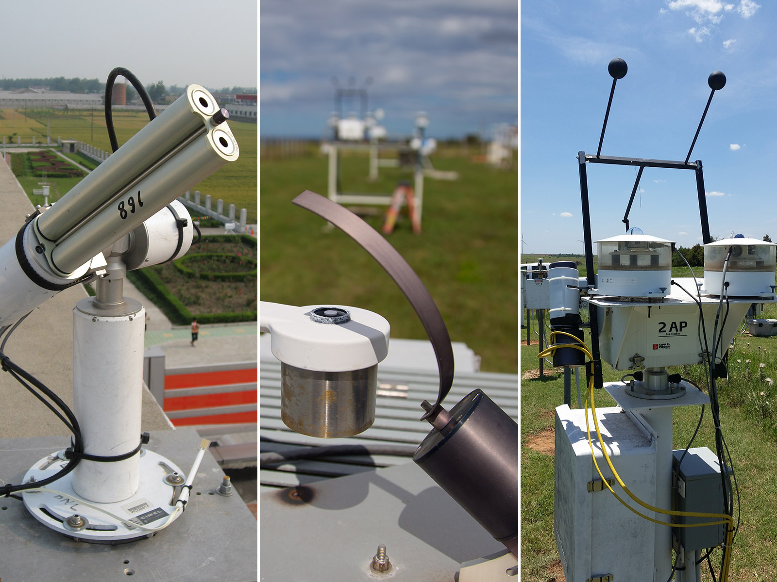 Cimel sunphotometer (left), multifilter rotating shadowband radiometer (middle), and normal incidence multifilter radiometer (right)